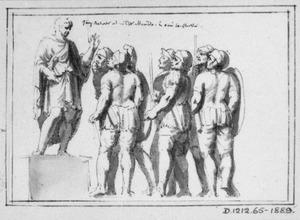 Romein, een groep soldaten toesprekend