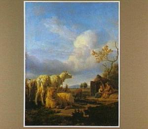 Landschap met schapen; op de achtergrond twee herders voor een hut