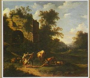 Zuidelijk landschap met dansende herders bij een ruïne