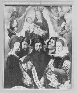 Maria met kind omringd door engelen, profeten en sibillen