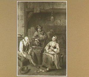 Boereninterieur met drie mannen en een vrouw rond een ton, drinkend en zingend