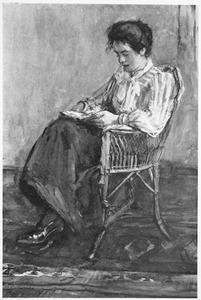 Portret van Maria Anna (Marian) van Houten, halfzuster van de kunstenares, lezend in een rieten stoel