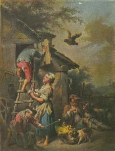 Kinderen bij kippenhok