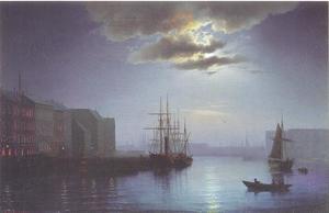 Haven van Kopenhagen bij maanlicht