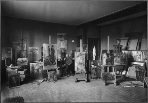 Isaac Israels in zijn atelier aan het Oosterpark 82, Amsterdam