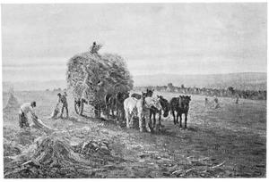 Landschap met hooikar getrokken door paarden
