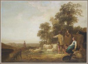 Landschap met herders bij een drinkbak