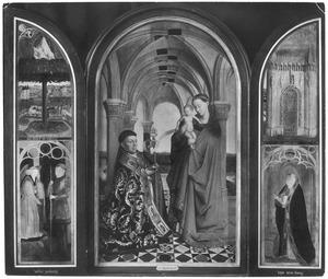 De Wijtstriptiek: Het brandende braambos (linksboven), Gideon en de engel (linksbeneden), Pieter Wijts in aanbidding voor Maria met kind (midden), de poort van Ezechiel (rechtsboven), Aäron (rechtsbeneden)