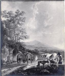 Herder met ossenkar in een italianiserend landschap