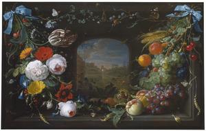 Festoenen van bloemen en vruchten in een nis met doorkijk naar een landschap