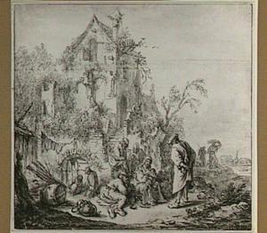 Rustende boeren voor een vervallen huis