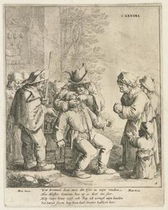 Tandarts met patient en toeschouwers; allegorie op het Gevoel