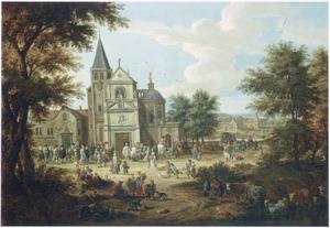 Landschap met een bruilofsstoet voor een kerk