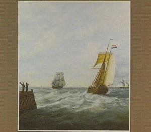 Kofschip op woelig water