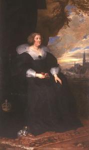 Portret van Maria de' Medici (1575-1642), koningin-moeder van Frankrijk, tegen de achtergrond van Antwerpen