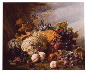 Stilleven met vruchten naast een boomstronk