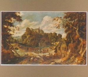 Bebost landschap met figuren bij een crucifix