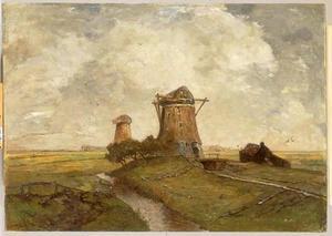 Twee molens tussen Abcoude en Ouderkerk aan den Amstel