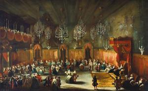 Interieur met een bal ter ere van Anna Maria Luisa de' Medici