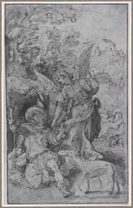H. Rochus in de woestijn met engel en hond die hem brood brengt