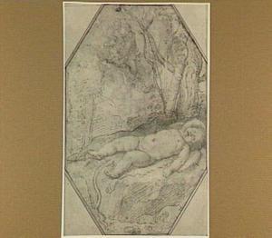 Slapende Amor gebeten door een hagedis waarop Apollo zijn pijl richt