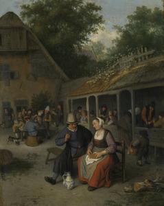 Drinkende boeren op een terras bij een herberg