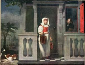 Vrouw in een deuropening met een emmer en vis