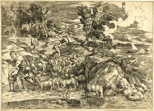 Landschap met herders en schapen