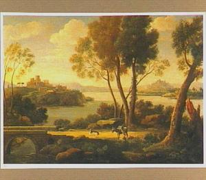 Zuidelijk landschap met een ezel en een geit bij een brug