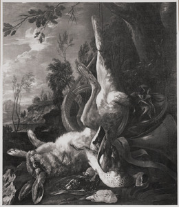 Jachtstilleven met opgehangen gevogelte en een haas bij een jachthoorn en een weitas
