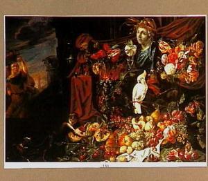 Stilleven rond een buste van Ceres: vruchten, bloemen, een kaketoe, een aap en een hondje; links een vrouw