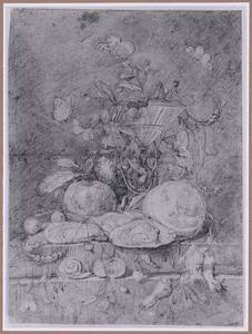 Stilleven met wijnglas, bloemen en vruchten