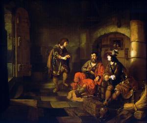 Jozef legt in de gevangenis de dromen van de schenker en de bakker uit (Genesis 40:8ff)