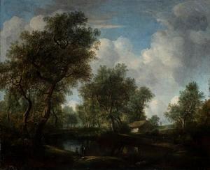 Boslandschap met figuren bij het water