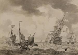 Hollands oorlogsschip en andere schepen in de Straat van Gibraltar