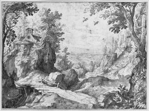 Berglandschap met rivier en kapel