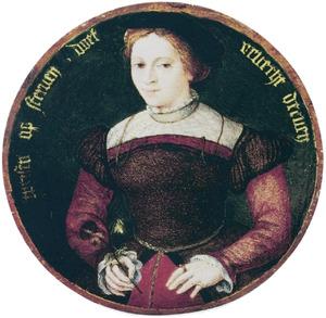 Portret van een vrouw met een viooltje in de hand