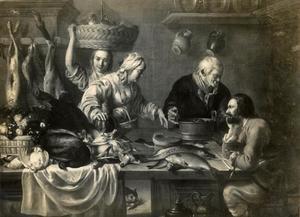 Groot keukenstuk met vier figuren