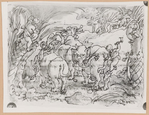Troglodieten jagen op olifanten (Plinius VIII, 8)
