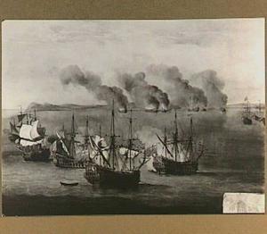 De admiraals Beach en Van Ghent vernietigen de schepen van zeerovers in de Straat van Gibraltar bij Kaap Spartel, 17-20 augustus 1670