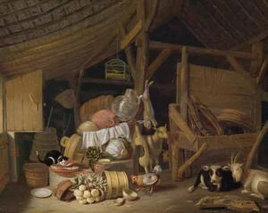 Stalinterieur met vee, een stilleven van etenswaren en vaatwerk