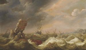 Schepen in een storm met een scheepswrak van een Turkse galei