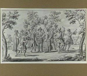 Musicerende en dansende figuren in een park