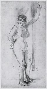 Staand vrouwelijk naakt met opgeheven arm