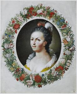 Portret van een jonge vrouw in een bloemenkrans, mogelijk Anna Maria van Schurman