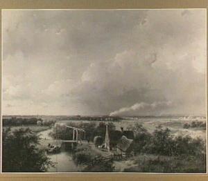 Landschap met boerderij en ophaalbrug, in de verte een trein