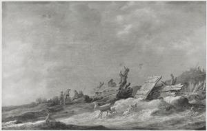 Duinlandschap met herders en geiten