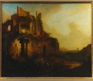 Twee mannen bij een ruïne in een italianiserend landschap