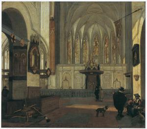 Gezicht op het koor van de Janskerk te Utrecht, vanuit het schip gezien