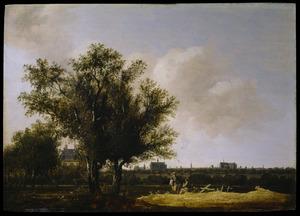Landschap met gezicht op de stad Leiden
